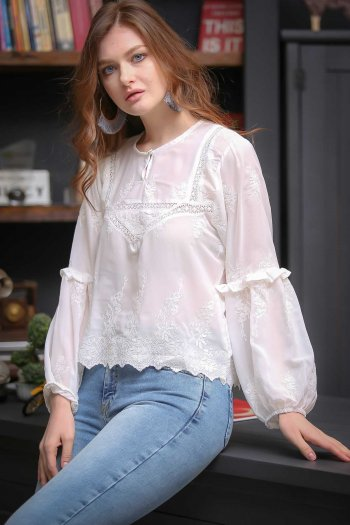 Search Romantic frilly lace sleeves and bubble hem blouse embroidered detail now