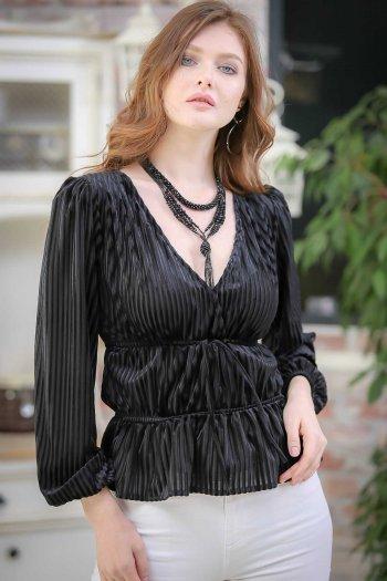 Retro V-neck blouse velor waist shirring detail