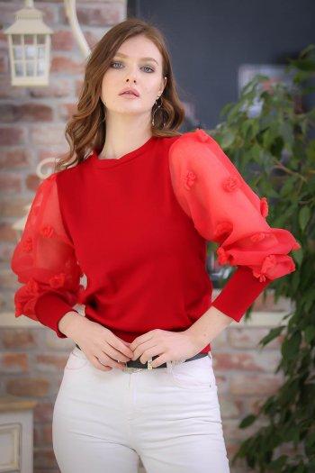 Giant puffs detail blouse