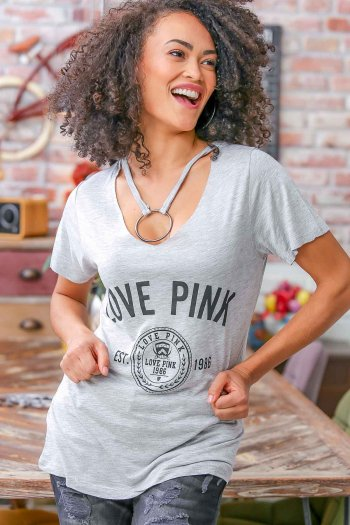 LOVE PINK printed t-shirt with giant ring necklace
