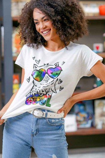 COOL zero collar casual printed t-shirts