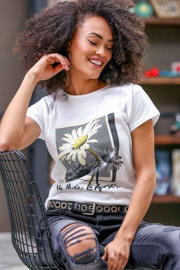 Casual giant daisy printed t-shirts
