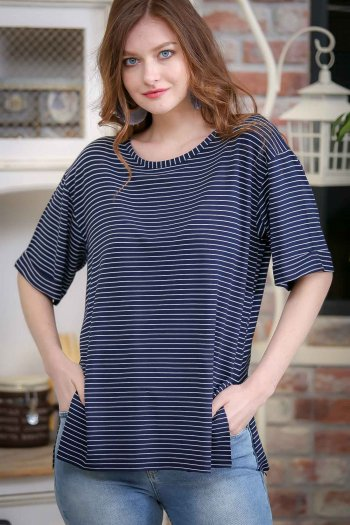 Vintage zero-neck striped slits Tees