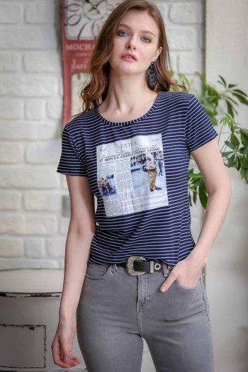Vintage striped paper transfer printed tshirt