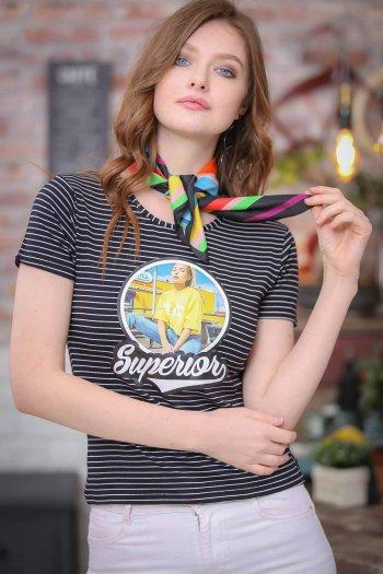 Vintage Tees transfer-printed striped Superior woman