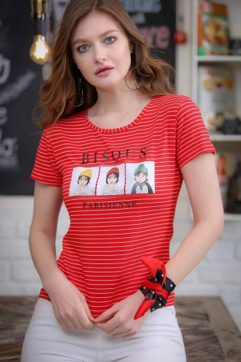 Vintage striped child transfer printed tshirt