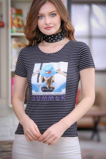 Vintage striped hat female transfer printed tshirt