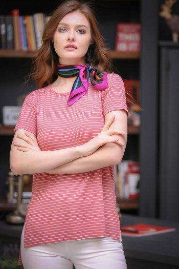 Vintage zero-neck striped slits Tees