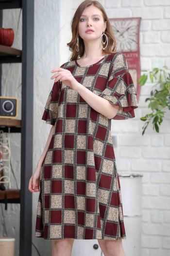 Retro arms flywheel detailed checked dress