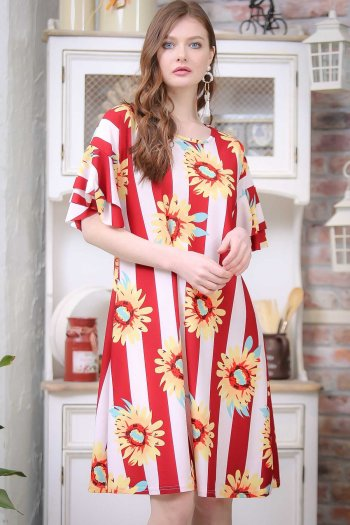 Retro arms giant sunflowers flywheel detailed patterned dress