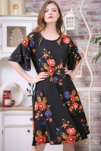 Retro arms flywheel detailed chrysanthemum patterned dress