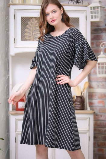 Retro arms flywheel detailed striped dress