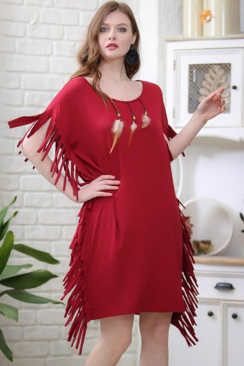 Vintage red skinned detailed feather fringed dress