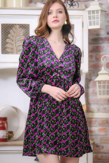 Vintage velvet flower-patterned V-neck dress