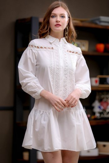 Search retro shirt dress with lace detail flywheel