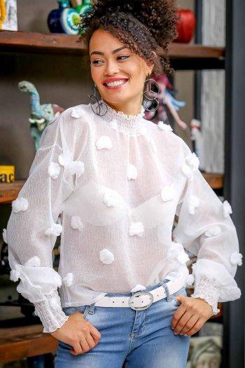 Vintage gipe yaka ve kol detaylı dev ponponlu bluz