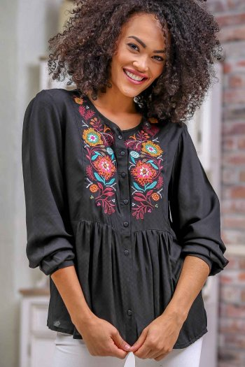 Bohemian floral pleated embroidered button thru blouse