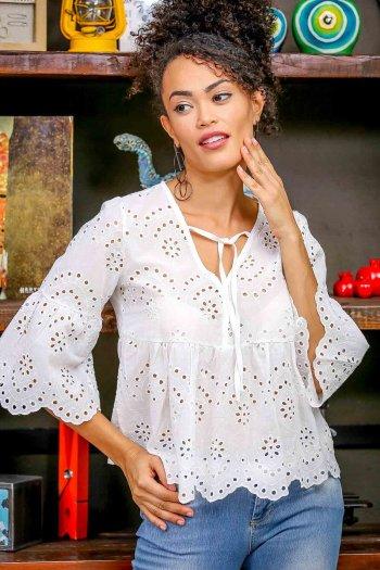 Vintage fisto nakışlı etek ucu dilimli bağlama detaylı bluz