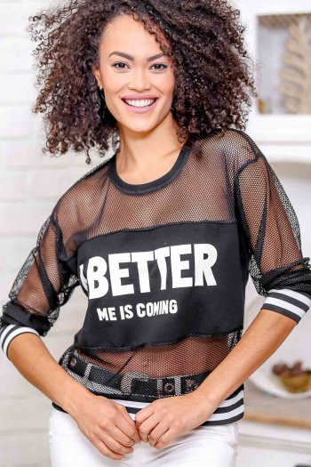 Slogan print top with knitted mesh strip detail