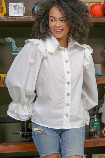 Frill sleeve and shoulder detailed Vintage shirt with crystal buttons