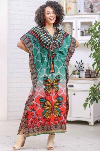 Retro dev kelebek desenli V yaka beli büzgü detaylı oversize elbise