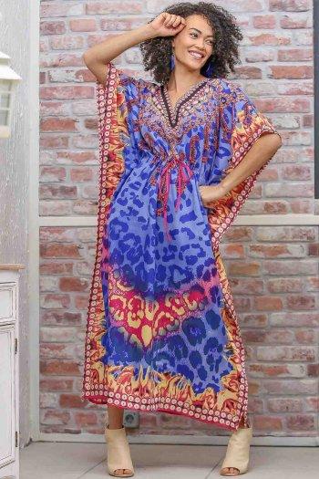 Retro leopar desenli V yaka beli büzgü detaylı oversize elbise