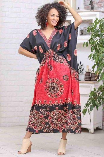 Retro şal desenli V yaka beli büzgü detaylı oversize elbise