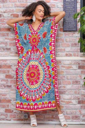 Retro mandala desenli V yaka beli büzgü detaylı oversize elbise