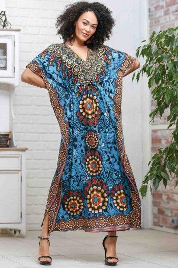 Retro dev gül desenli V yaka beli büzgü detaylı oversize elbise