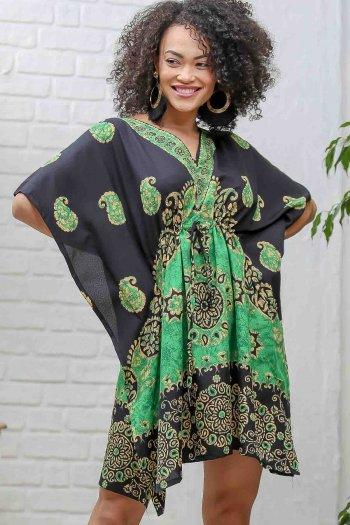 Retro şal desenli V yaka beli büzgü detaylı kısa oversize elbise