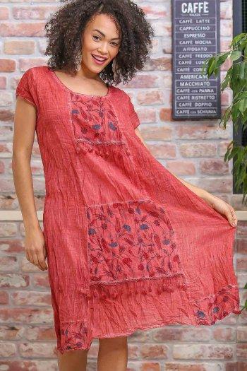 Bohem tülbent detaylı saçaklı yıkamalı elbise