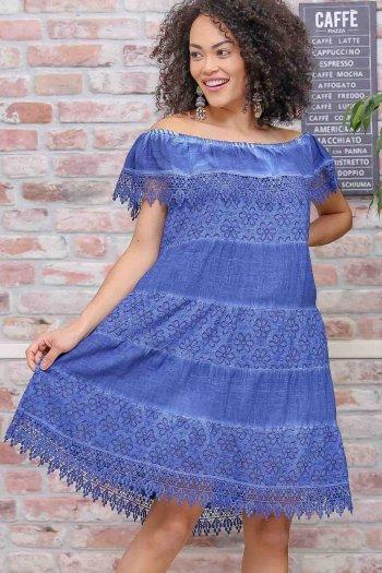 Bohem carmen yaka dantel detaylı yıkamalı astarlı elbise