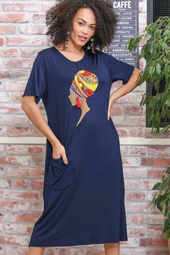 Retro küpeli kadın nakışlı cep detaylı oversize elbise