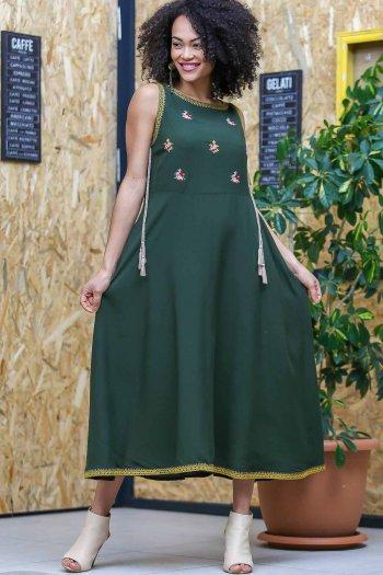 Vintage çıtır çiçek nakışlı kopanaki ve püskül detaylı elbise