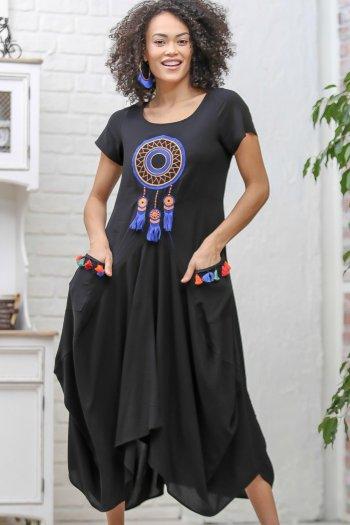 Bohem dream catcher nakışlı cepli asimetrik elbise