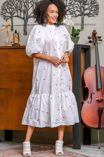Retro papatya nakışlı balon kol düğme detaylı elbise