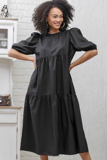 Retro sıfır yaka kat kat büzgü detaylı elbise
