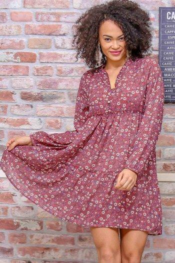 Vintage robası büzgü detaylı astarlı şifon elbise