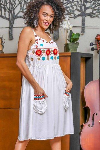 Vintage dev papatya nakışlı ip askılı cepli elbise