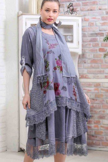 Vintage floral ruffle front body wash bilateral long-sleeved dress