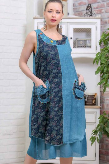 Bohemian side pockets handmade flower detail flower-lined block wash clothes