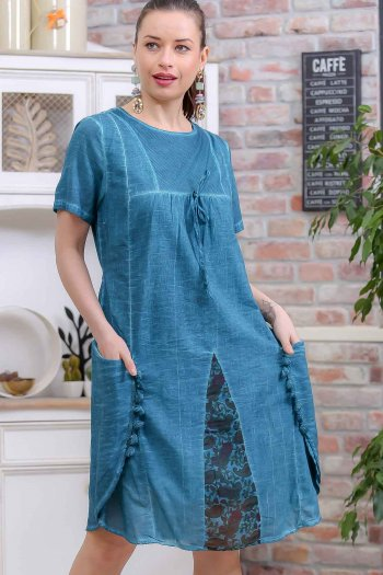 Bohemian side mesh pockets lined dress with tassels detail giant