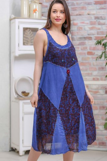 Bohemian handmade beads embroidered sleeveless dress with floral block wash
