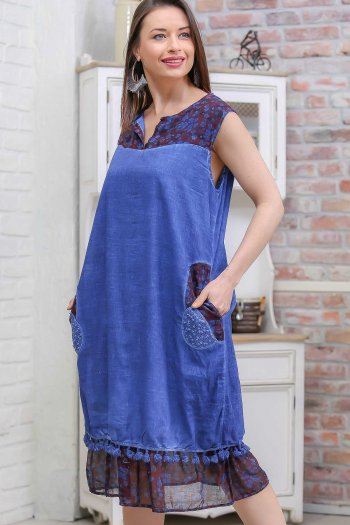 Bohemian floral-patterned yoke to the hem pockets wash sleeveless dress