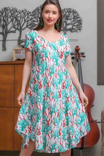 Coral-patterned woven shabby bohemian dress