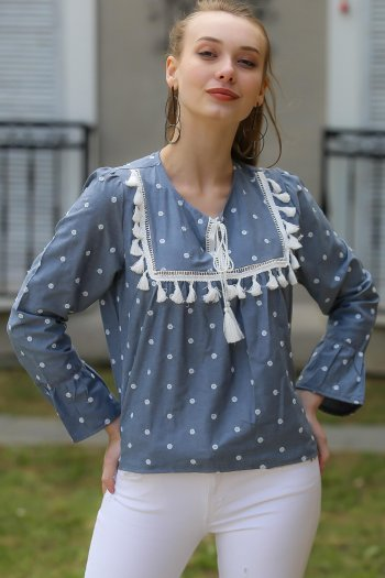 Polka dot embroidery, tassels detail blouse