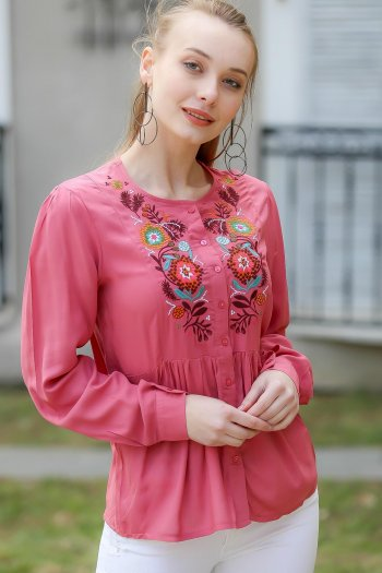 Bohemian floral embroidered blouse button detail
