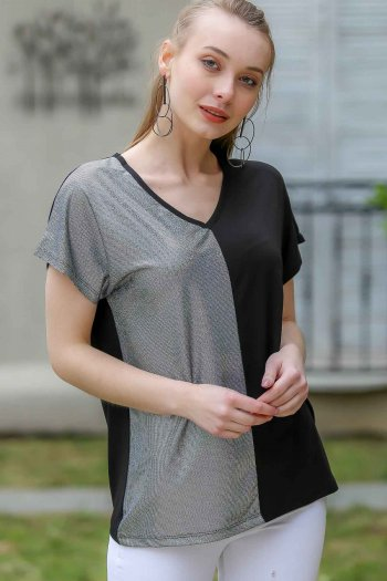 Retro, silver silvery, block V-neck blouse