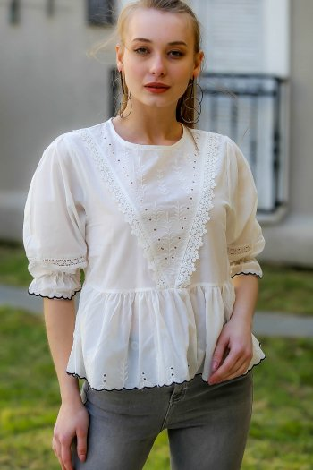 Side flower embroidery, lace detail, shirred waist blouses