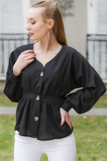 Vintage, giant button detail waist stretch blouse